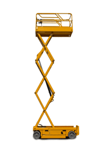 Yellow electric scissor lift